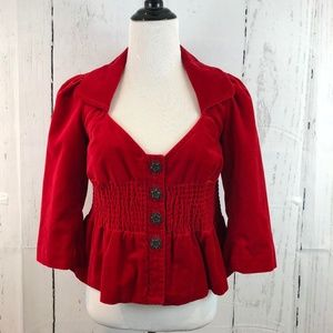 Anthro Elevenses Red Velvet Cropped Blazer Sz 0